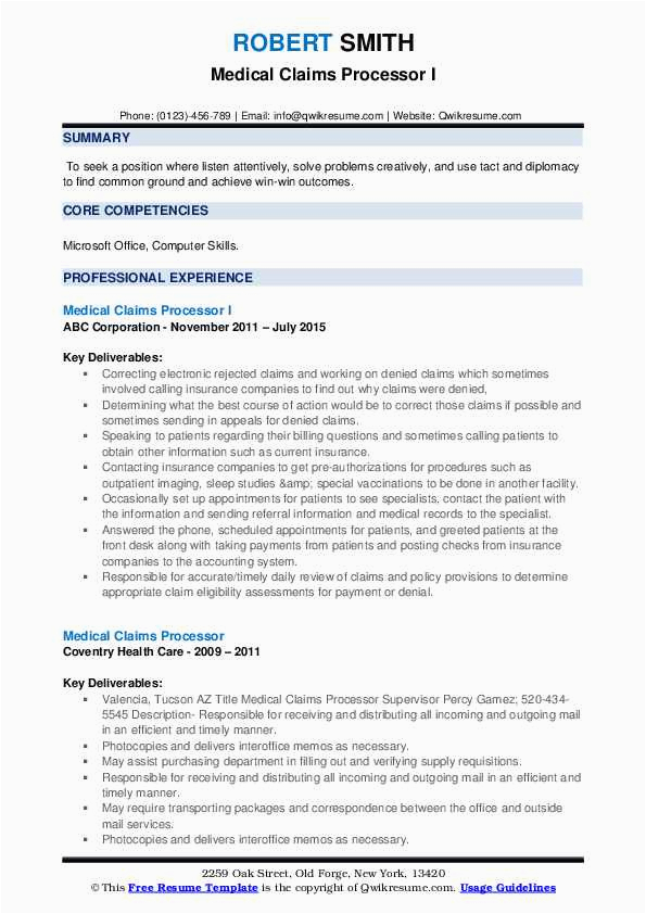 Sample Resume for Medical Claims Processor Medical Claims Processor Resume Samples