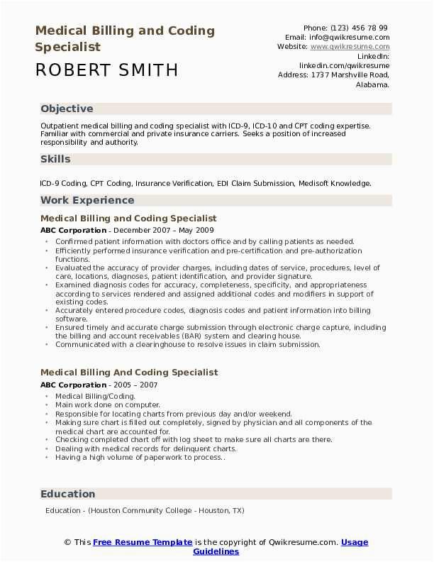 Sample Resume for Medical Coding and Billing Medical Billing and Coding Specialist Resume Samples