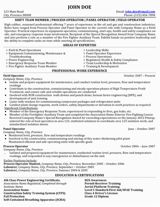 Sample Resume for Oil and Gas Entry Level Here to This Process & Field Operator