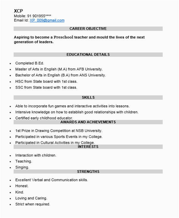 Sample Resume for Preschool Teacher Fresher Free 40 Fresher Resume Examples In Psd
