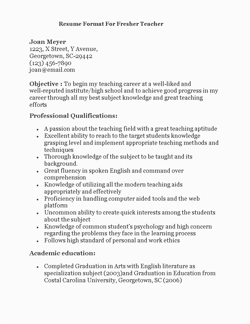 fresher teacher resume format