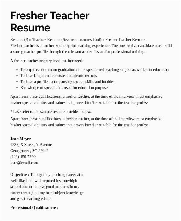resume format for kindergarten teacher fresher