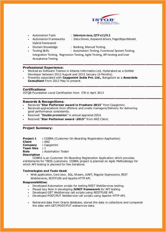11 12 selenium automation tester resume