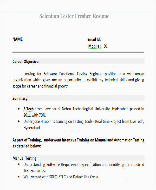 Sample Resume for Selenium Automation Tester Fresher Free 42 Professional Fresher Resume Templates In Pdf