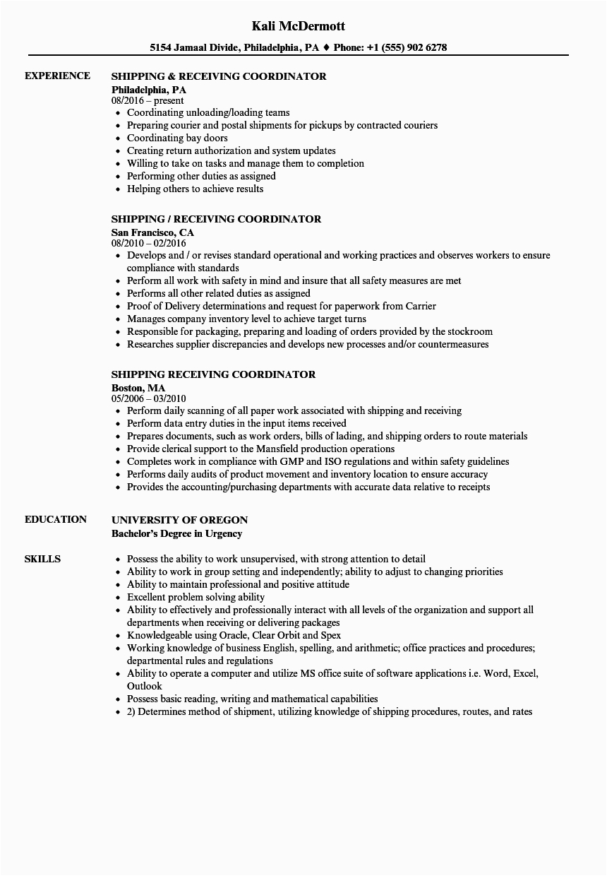Sample Resume for Shipping and Receiving Coordinator Shipping and Receiving Resume Mryn ism