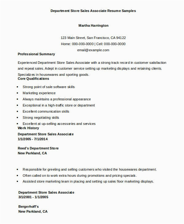 Sample Resume for Sm Department Store 7 Sales associate Resume Templates Pdf Doc