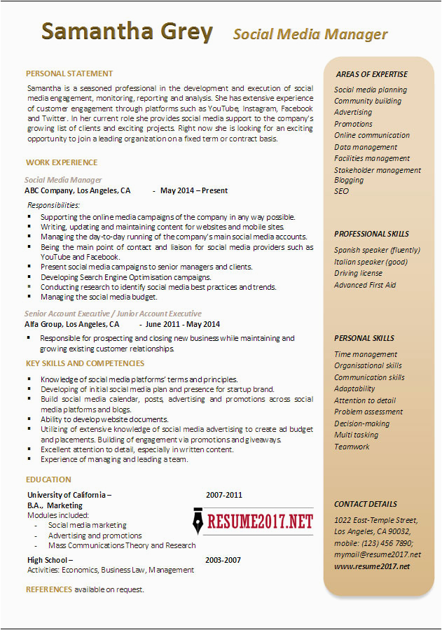 social media manager resume examples 2017