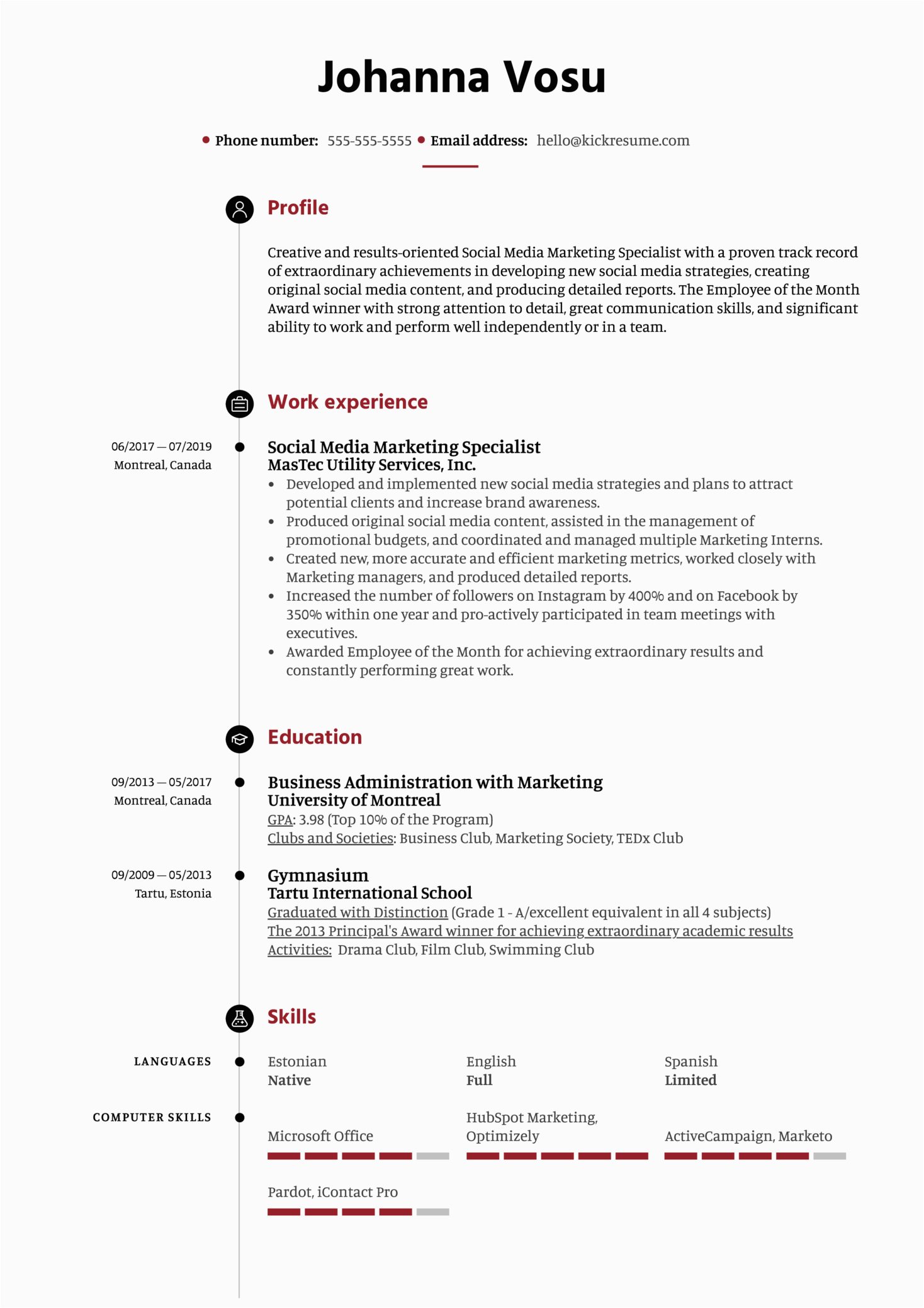 social media marketing specialist resume sample