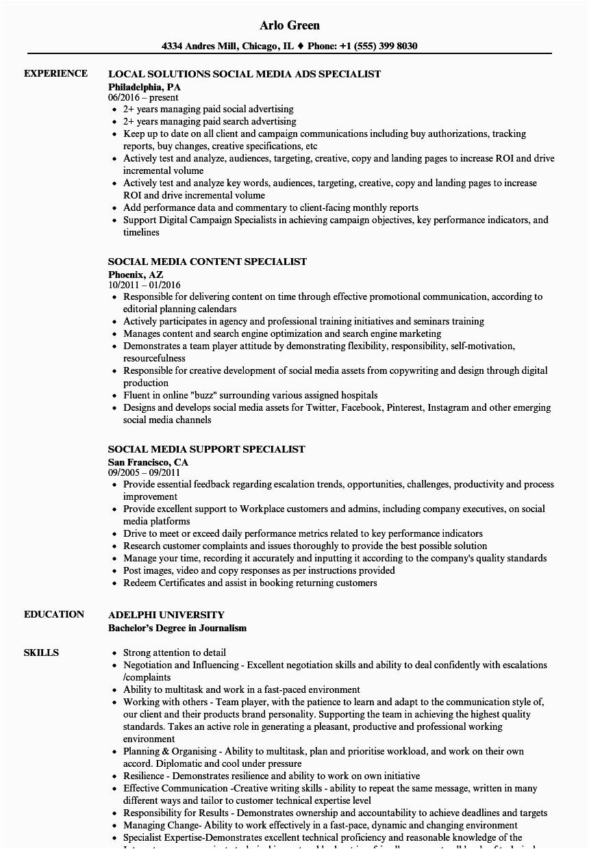 specialist social media resume sample