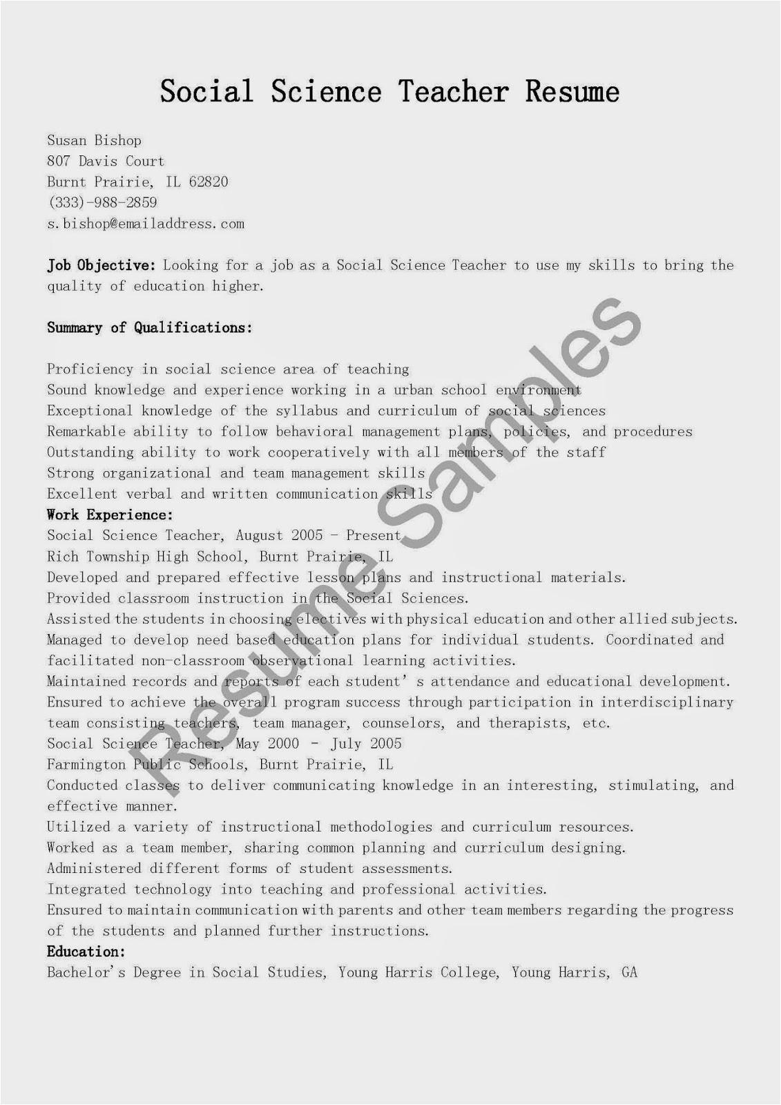 Sample Resume for social Science Teacher Resume Samples social Science Teacher Resume Sample
