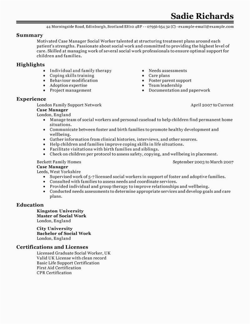 case manager resume example
