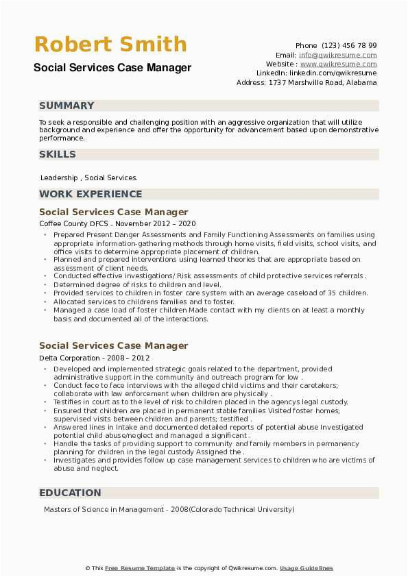 social services case manager