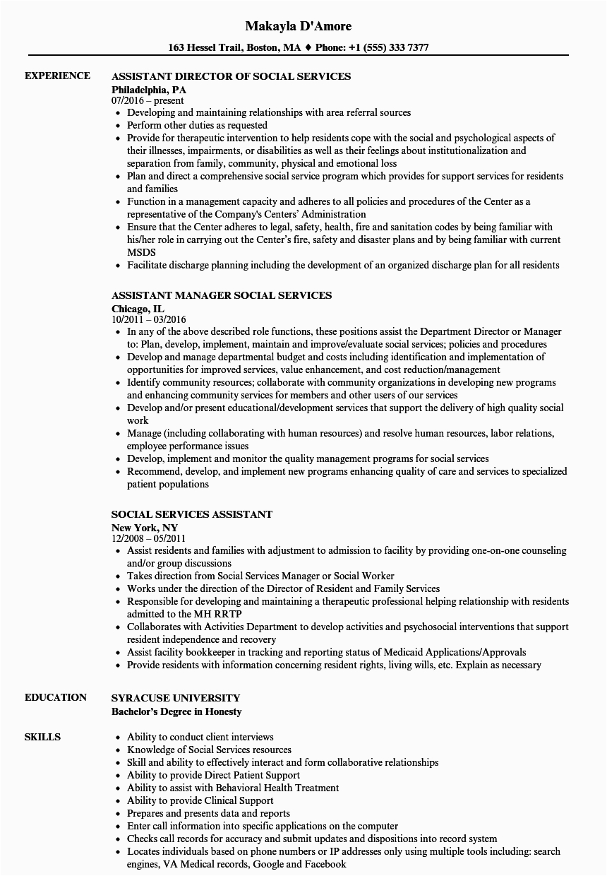 social services assistant resume sample