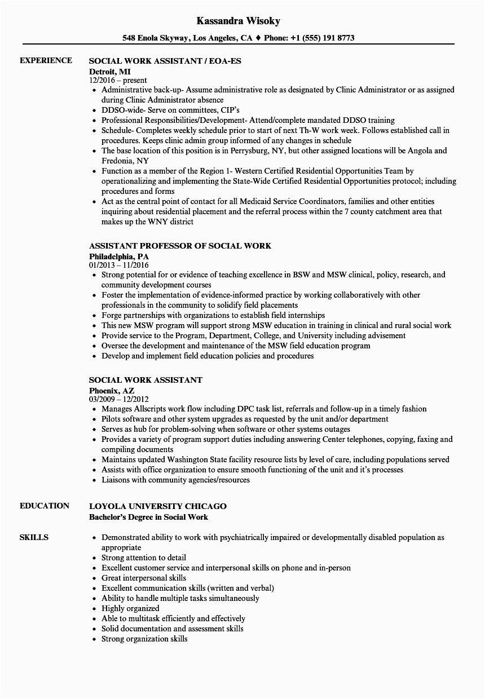 social work assistant resume sample
