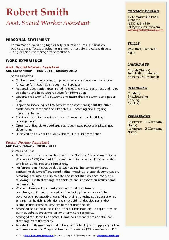 social worker assistant