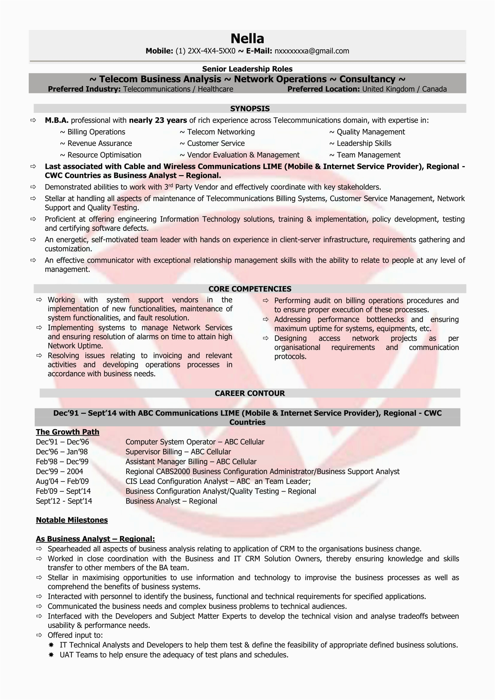 Sample Resume for Telecom Operations Manager Resume for Network Operation Enginer
