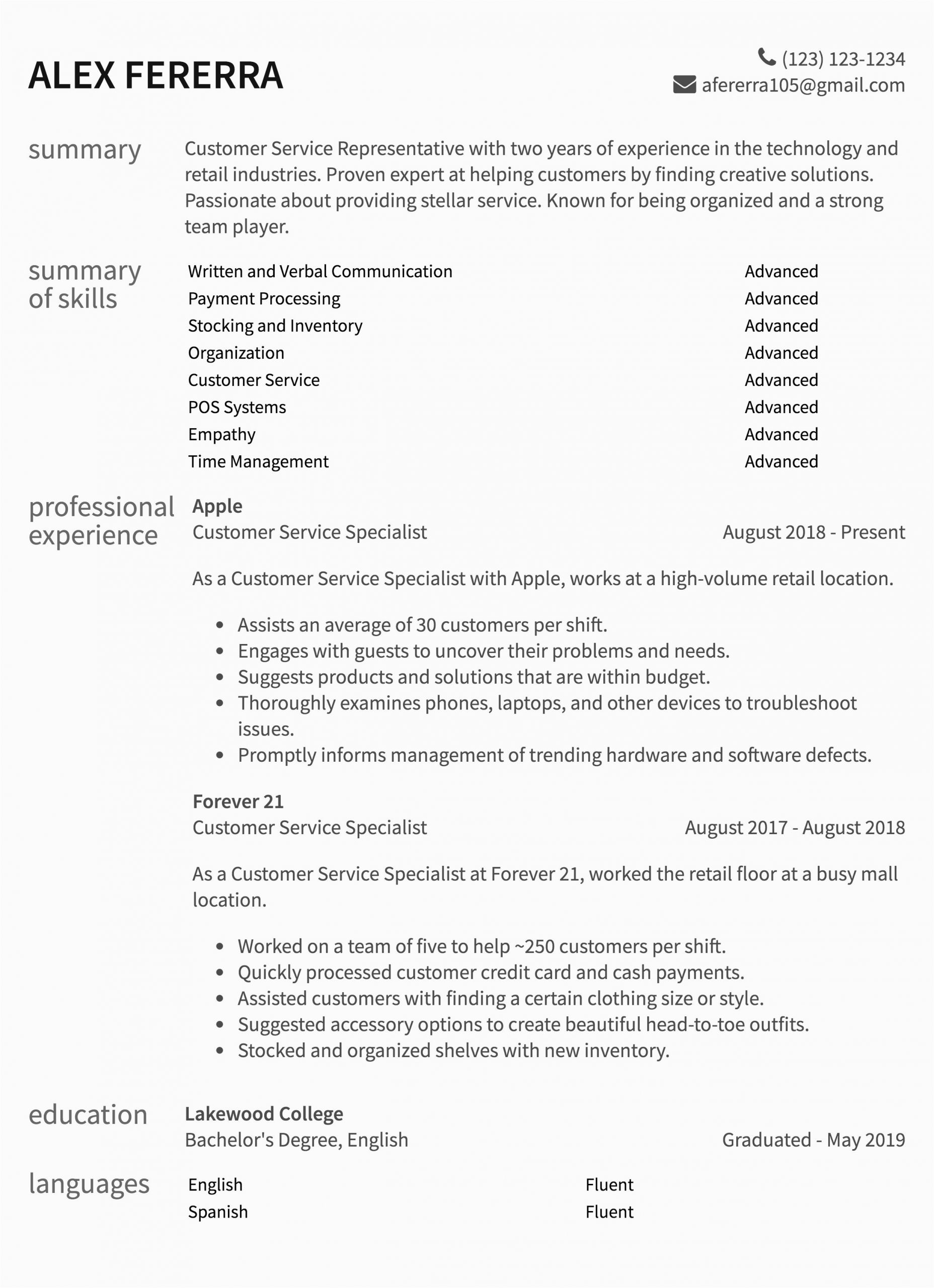 best call center customer service one page resume sample