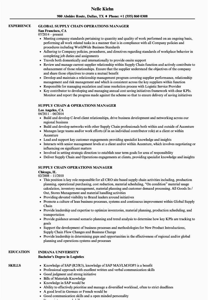 supply chain manager resume examples