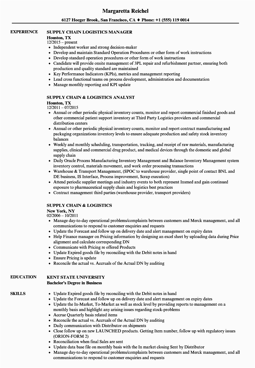 Sample Resume Of Logistics Supply Chain Manager Supply Chain Resume