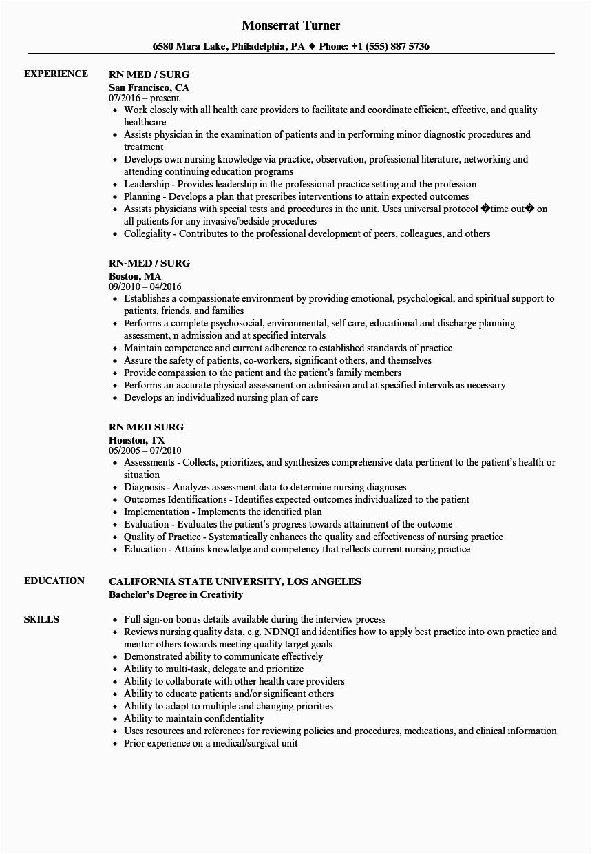 med surg rn resume sample