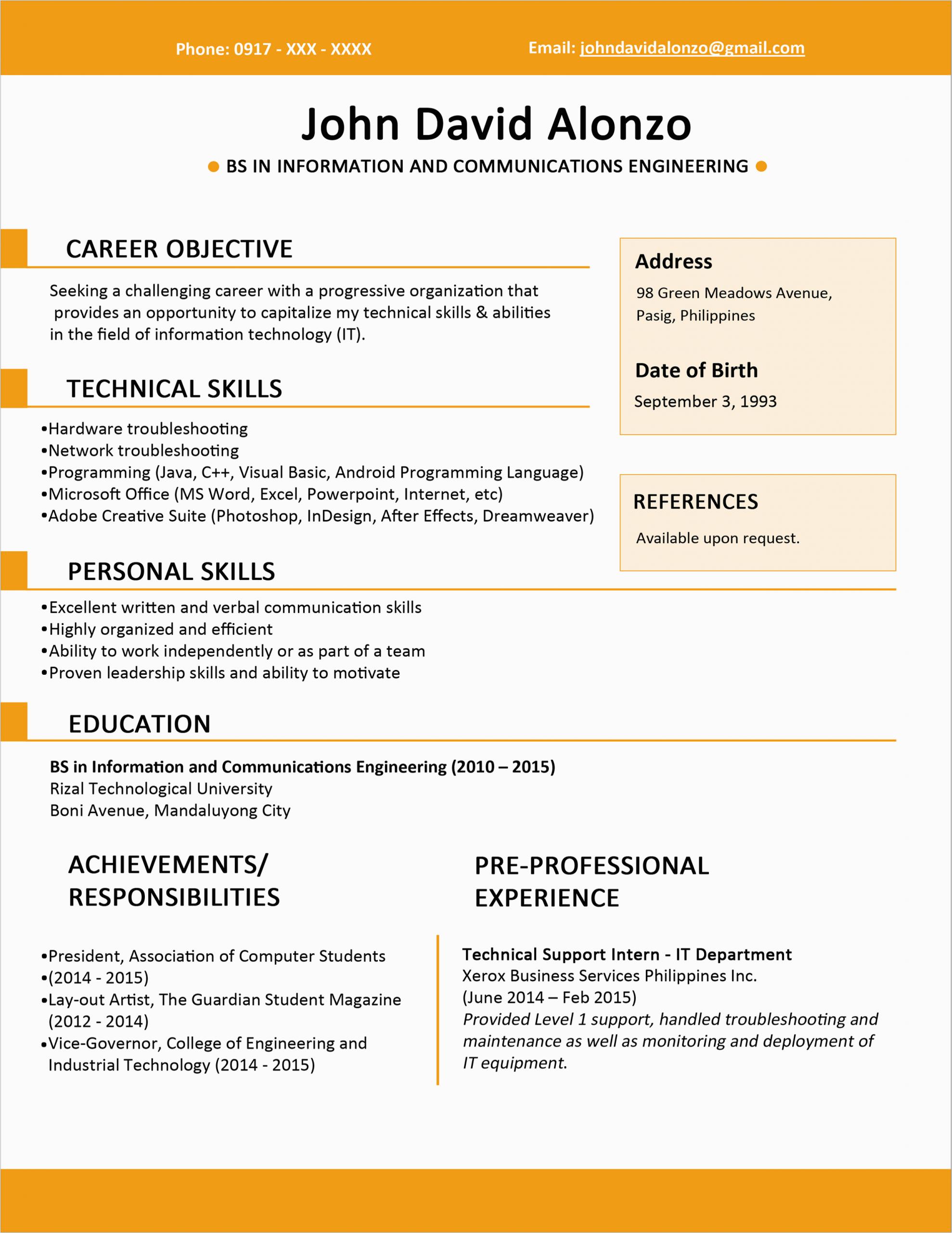 Sample Resume Title for Fresh Graduates Sample Resume format for Fresh Graduates E Page format