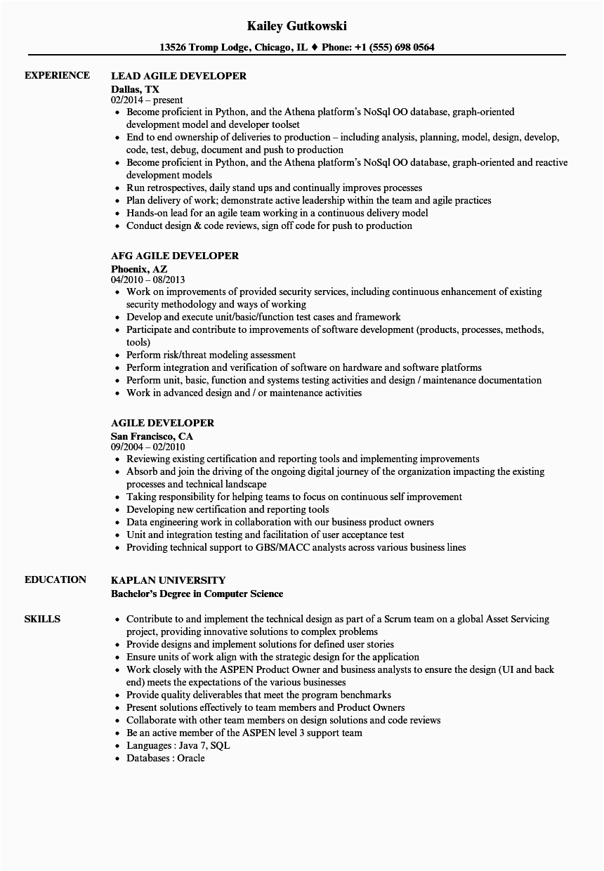 agile developer resume sample
