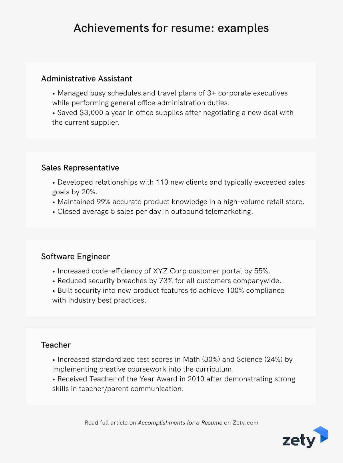 achievements for resume