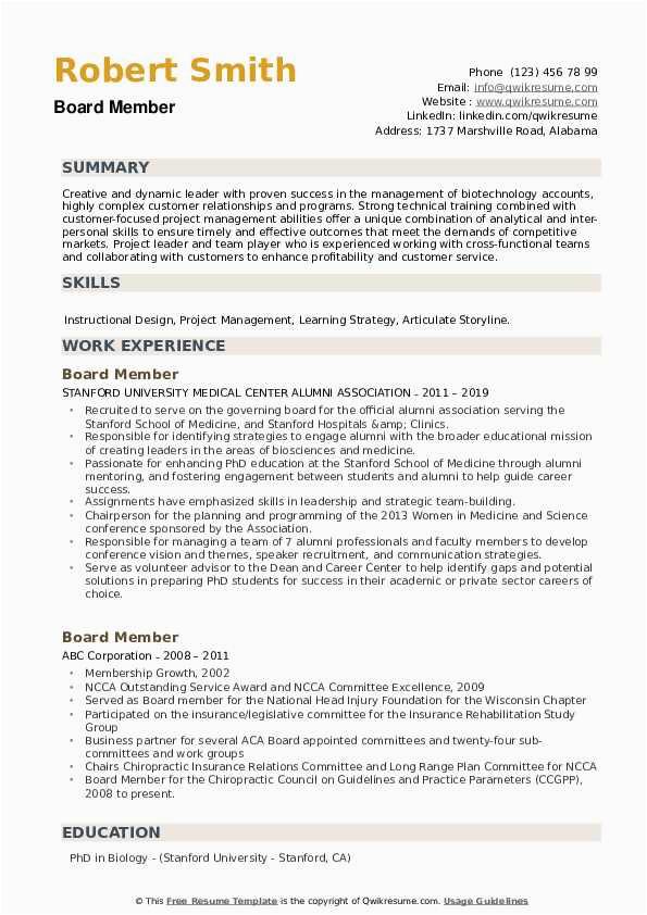 Sample Resume with Board Member Experience Board Member Resume Samples