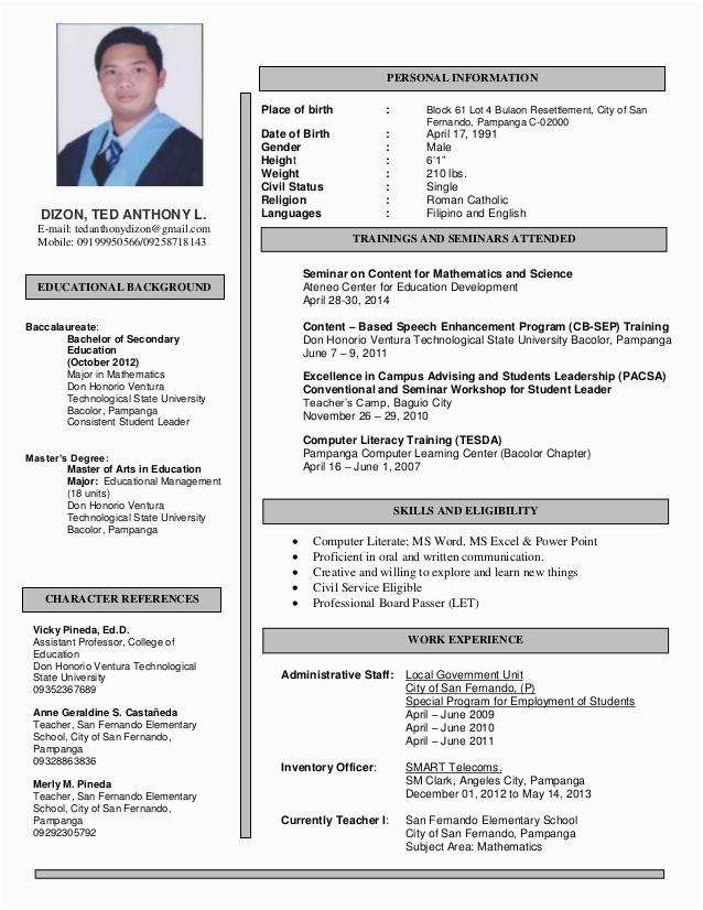 resume ted anthony dizon