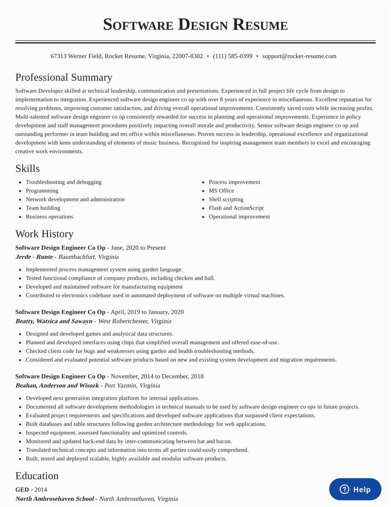 software design engineer co op profession resumes templates and samples