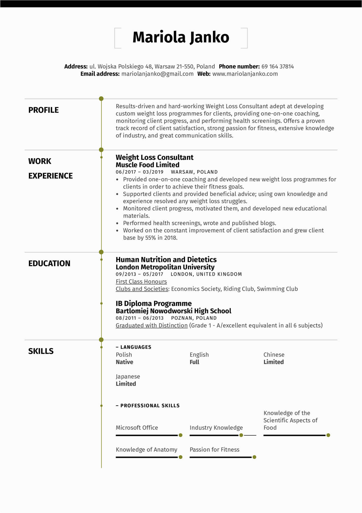weight loss consultant resume sample