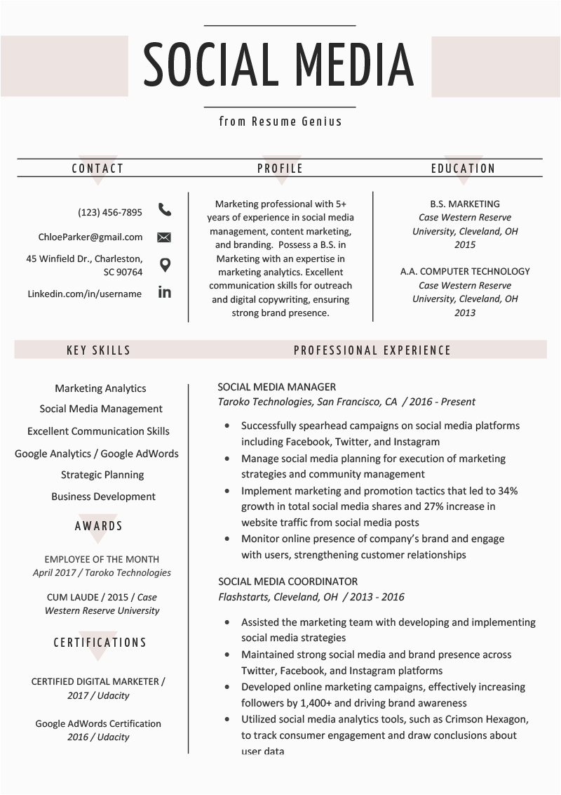Sample Resume with social Media Links social Media Resume Example & Writing Tips
