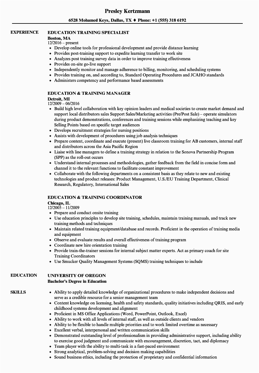 Sample Resume with Trainings and Seminars Resume Examples for Training Specialist Training