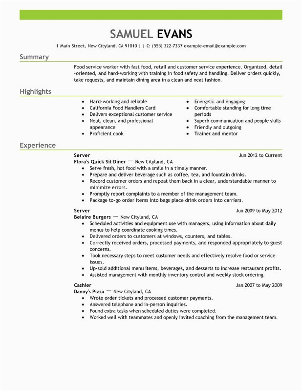 Sample Resumes for Fast Food Jobs Fast Food Server Resume Examples – Free to Try today