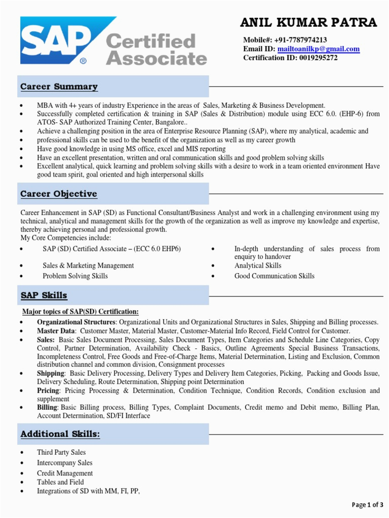 Sap Sd Resume Sample for Experienced Sap Sd Freshers Resume with Domain Experience Sales
