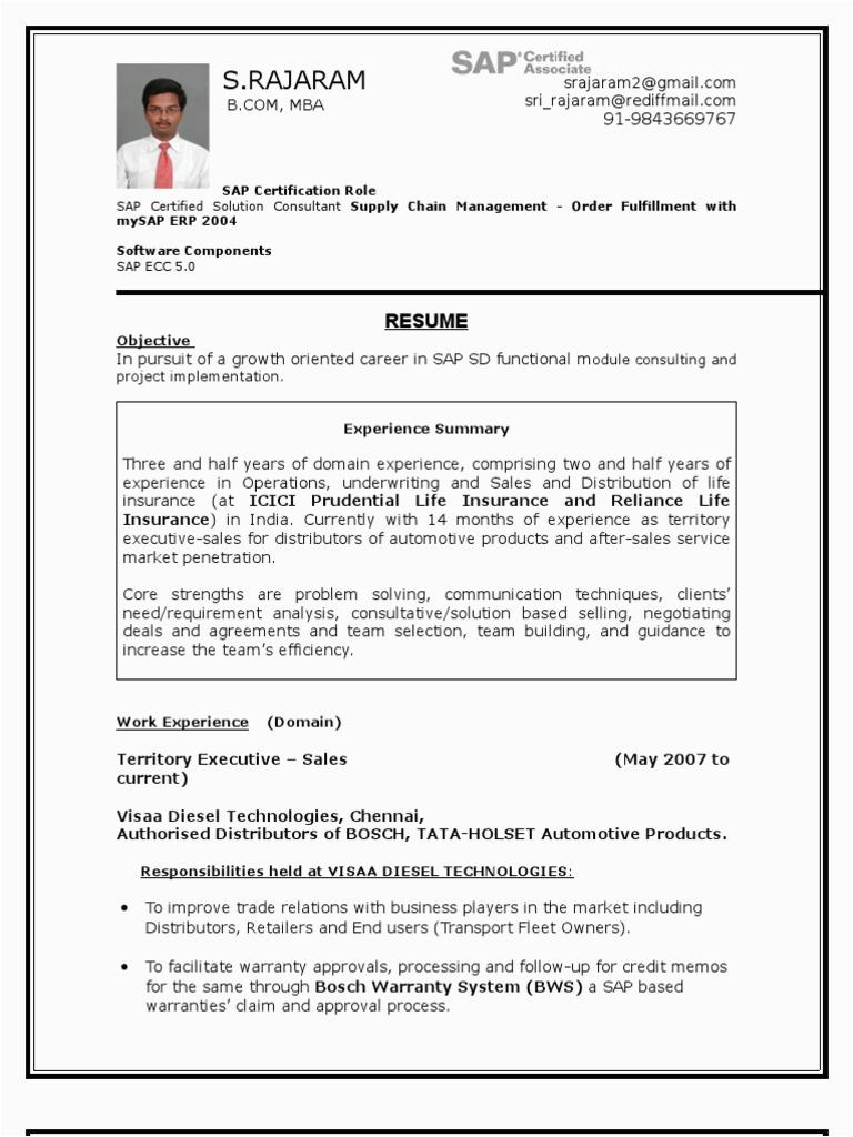 SAP SD resume