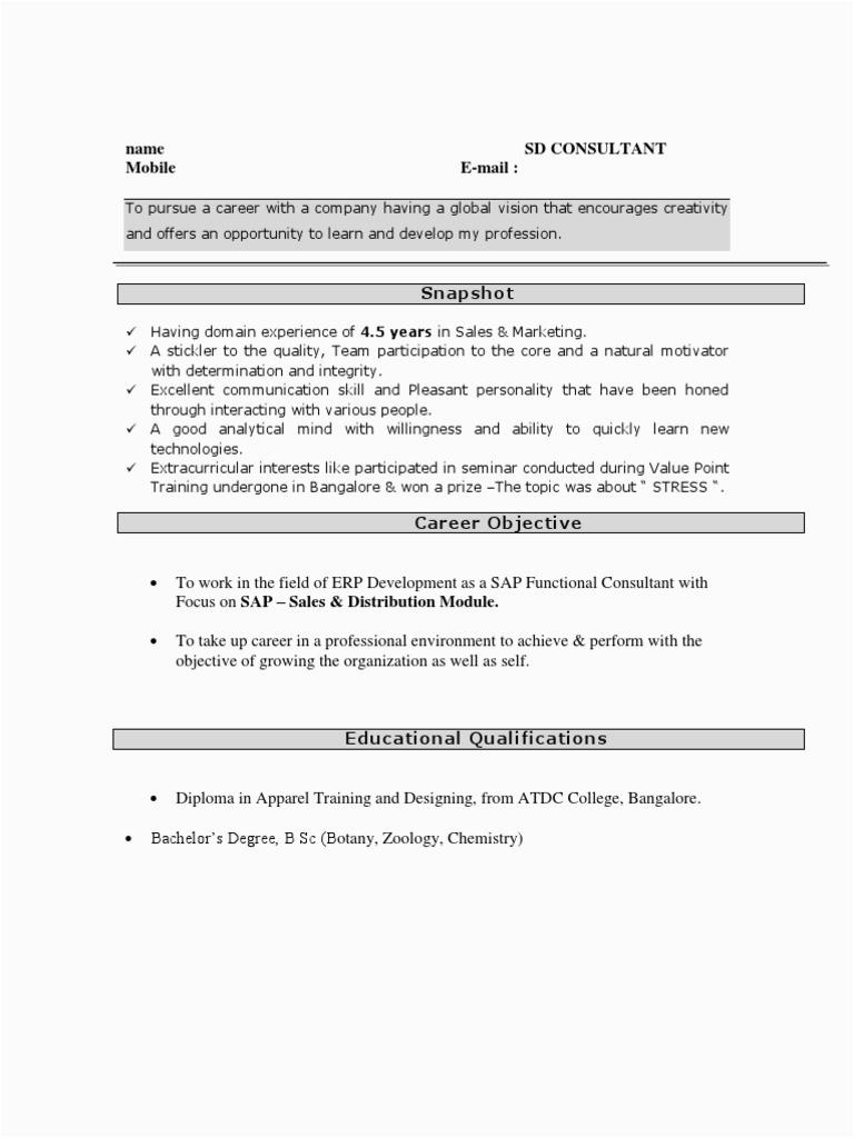 Sap Fresher Resume