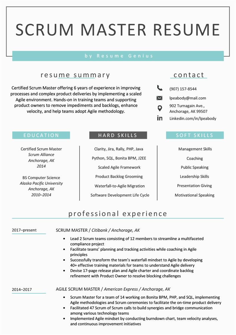scrum master resume