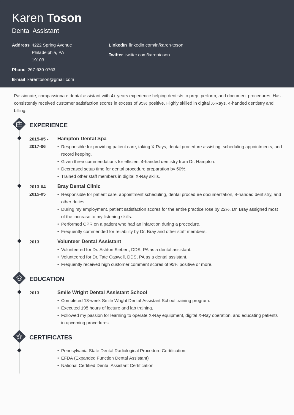 entry level dental assistant resume template