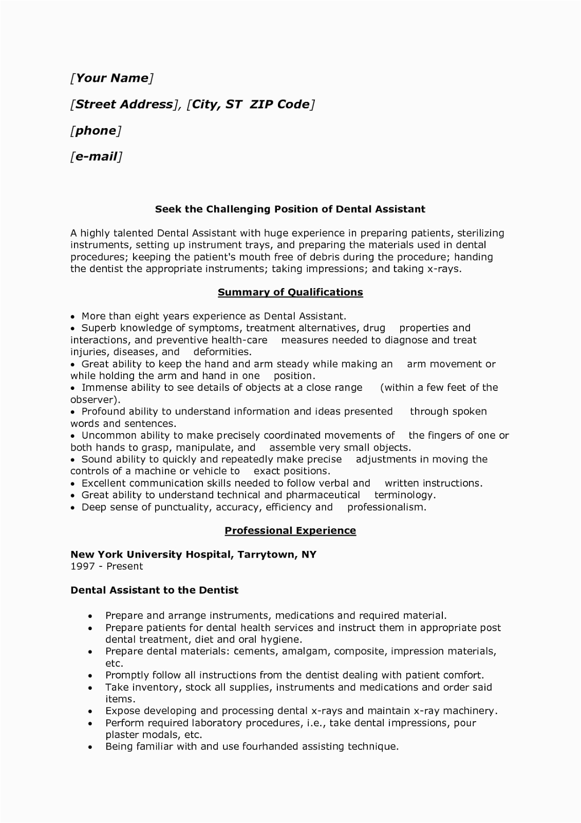 sample of dental assistant resume entry