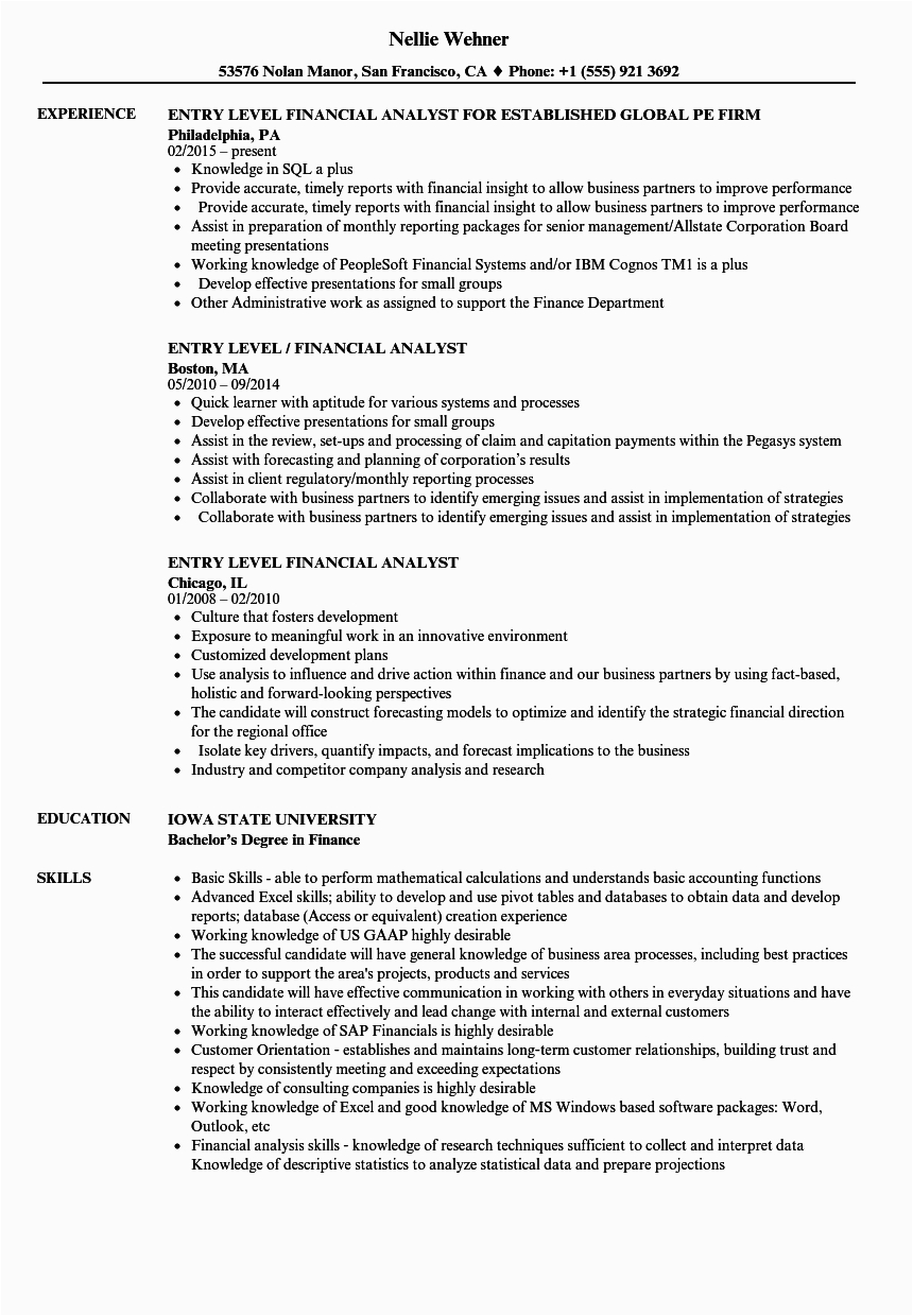 Entry Level Financial Analyst Resume Sample Entry Level Financial Analyst Resume Samples