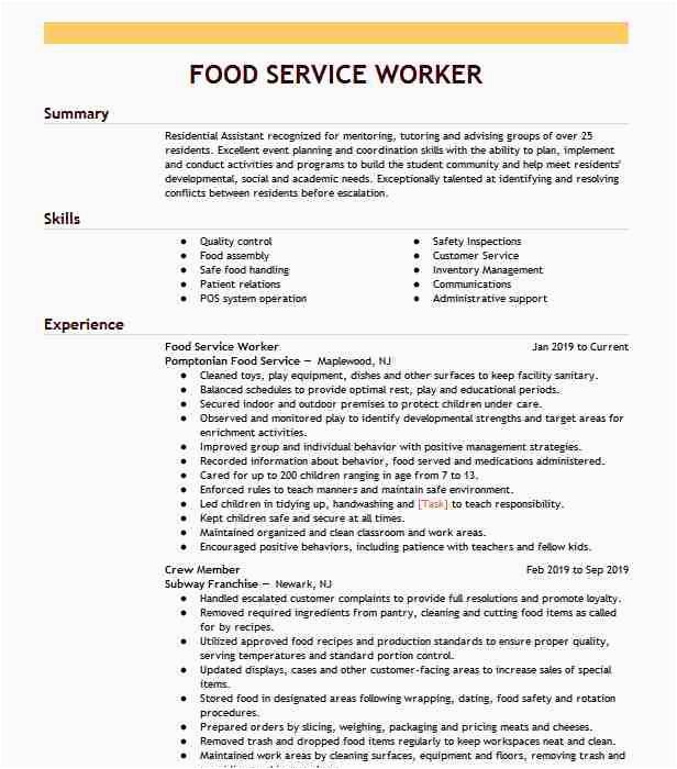 entry level food service worker af475f09d3ce47c1a899fc10e166d743