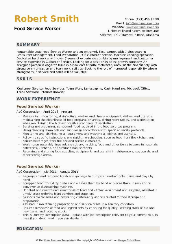 resume examples for food service worker