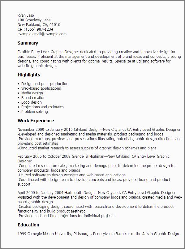 Entry Level Graphic Designer Resume Sample 1 Entry Level Graphic Designer Resume Templates Try them
