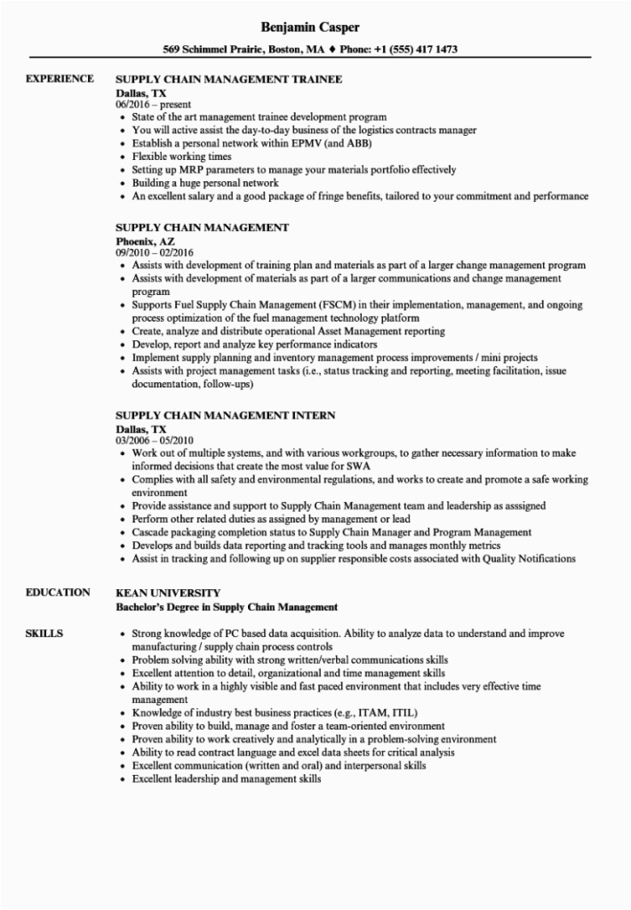 supply chain management resume sample