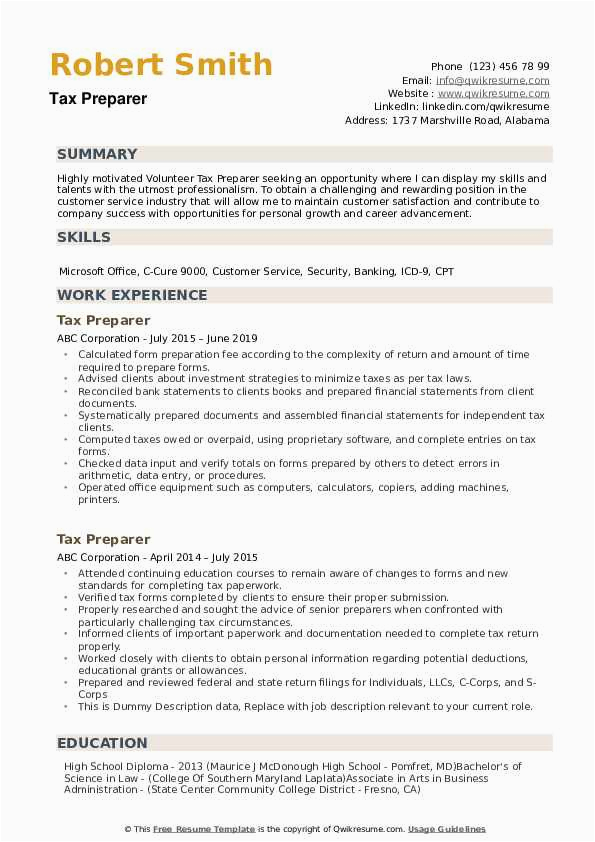 Entry Level Tax Preparer Resume Sample Tax Preparer Resume Samples