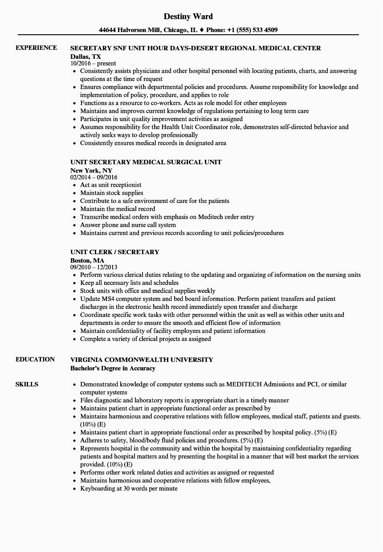secretary unit resume sample