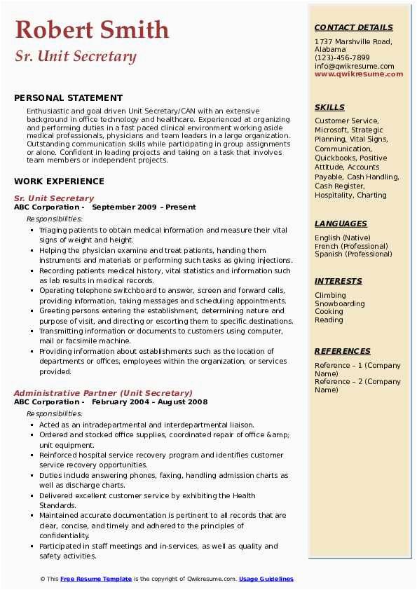 Entry Level Unit Secretary Resume Sample Unit Secretary Resume Samples