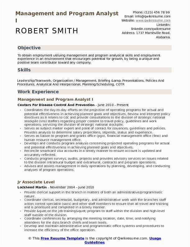 management and program analyst