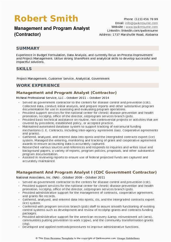 Management and Program Analyst Resume Samples Management and Program Analyst Resume Samples